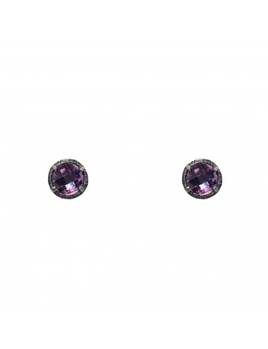 Minimal Button Earrings in Dark Sterling Silver with Purple Circonita
