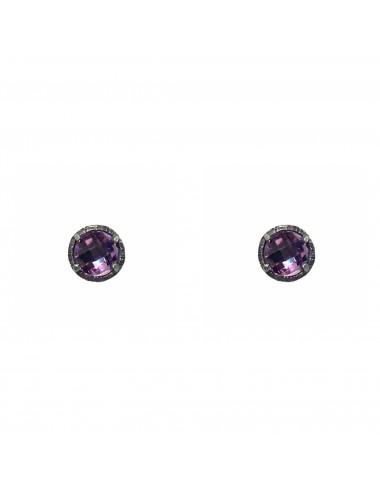 Minimal Button Earrings in Dark Sterling Silver with Purple Circonita
