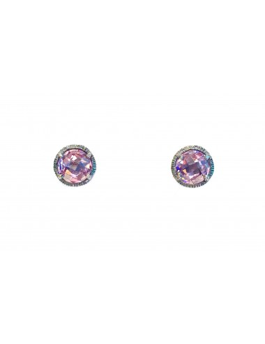 Minimal Button Earrings in Dark Sterling Silver with Pink Circonita