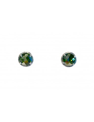 Minimal Button Earrings in Dark Sterling Silver with Green Circonita