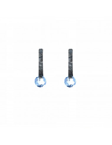 Minimal Earrings in Dark Sterling Silver with Blue Circonita