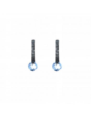Minimal Earrings in Dark Sterling Silver with Blue Circonita