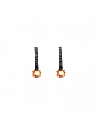 Minimal Earrings in Dark Sterling Silver with Beige Circonita