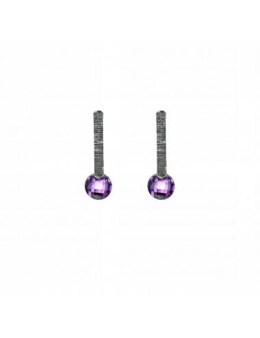 Minimal Earrings in Dark Sterling Silver with Purple Circonita