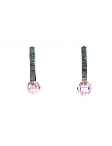 Pendientes Plata Oxidada Con Circonita Rosa Minimal