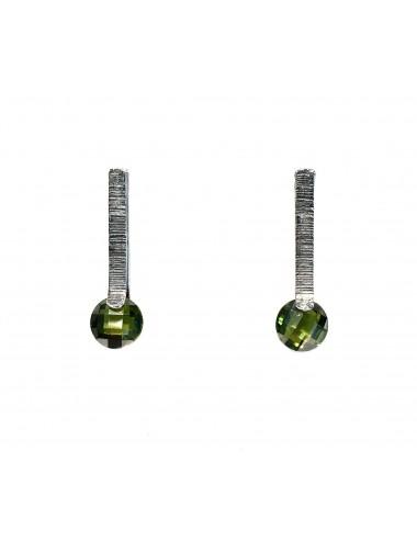 Pendientes Plata Oxidada Con Circonita Verde Minimal