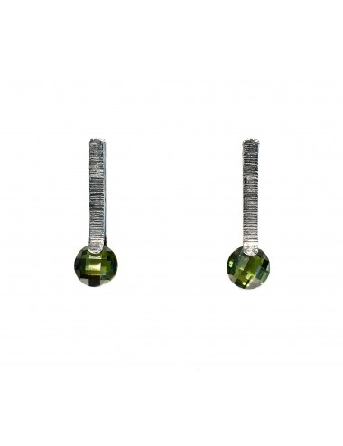 Minimal Earrings in Dark Sterling Silver with Green Circonita