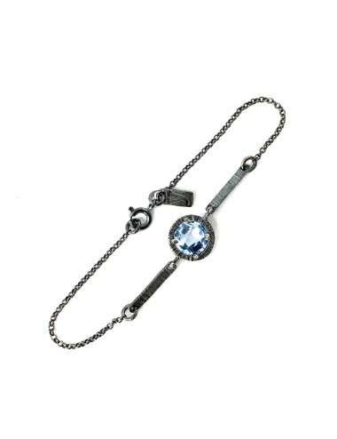 Minimal Bracelet in Dark Sterling Silver with Blue Circonita