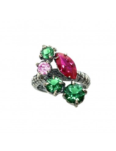 Kaleidoscope Emerald Green Large Ring in Dark Sterling Silver