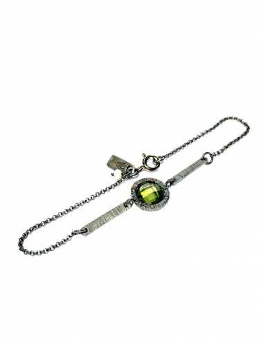 Minimal Bracelet in Dark Sterling Silver with Green Circonita