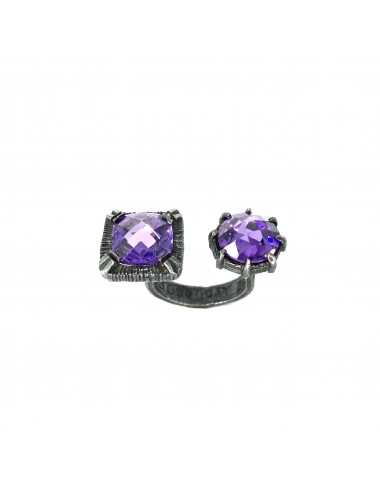 Minimal Square Open Ring in Dark Sterling Silver with 2 Purple Circonitas