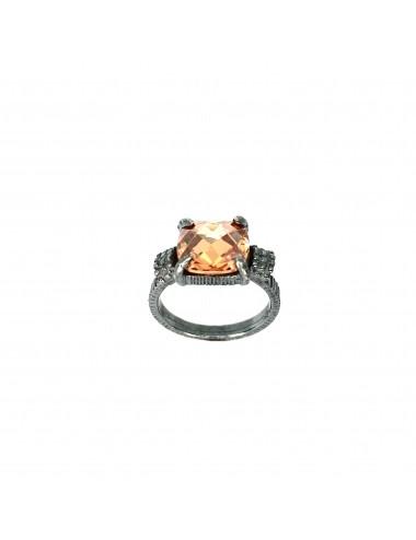 Minimal Square Frame Ring in Dark Sterling Silver Ring with Beige Circonita