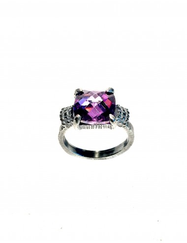 Minimal Square Frame Ring in Dark Sterling Silver Ring with Purple Circonita