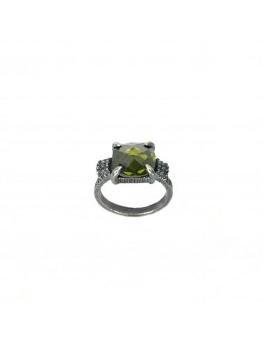 Minimal Square Frame Ring in Dark Sterling Silver Ring with Green Circonita