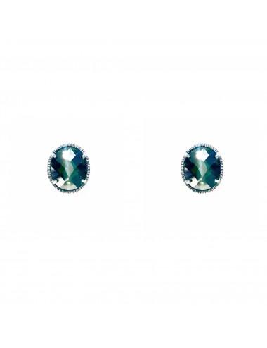 Pendientes Dormilona Plata Oxidada Oval Con Circonita Azul Minimal