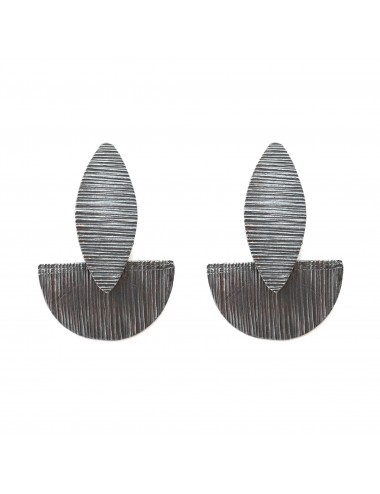 Architecture Semi Circle Earrings in Dark Sterling Silver