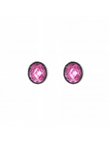 Minimal Oval Button Earrings in Dark Sterling Silver with Pink Circonita