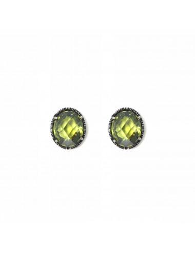 Pendientes Dormilona Plata Oxidada Oval Con Circonita Verde Minimal