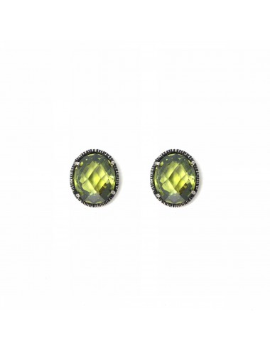 Minimal Oval Button Earrings in Dark Sterling Silver with Green Circonita