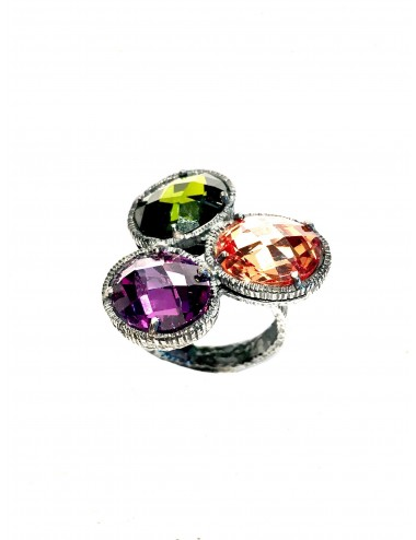 Minimal Oval Ring in Dark Sterling Silver with 3 Circonitas Beige Purple Green