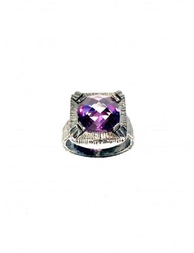 Minimal Square Ring in Dark Sterling Silver with Purple Circonita