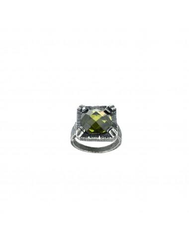 Minimal Square Ring in Dark Sterling Silver with Green Circonita