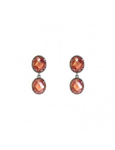 Minimal You & Me Earrings in Dark Sterling Silver with 2 Beige Circonitas