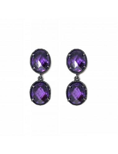 Minimal You & Me Earrings in Dark Sterling Silver with 2 Purple Circonitas