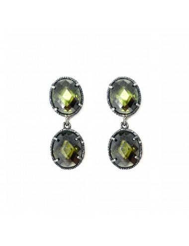 Minimal You & Me Earrings in Dark Sterling Silver with 2 Green Circonitas