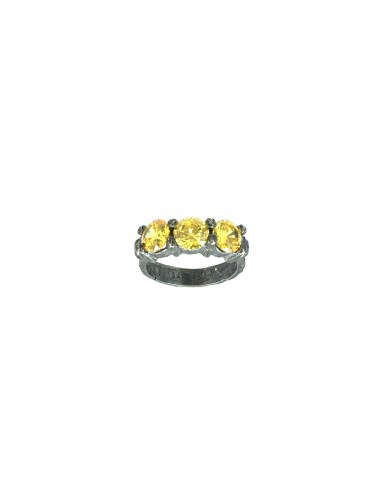 Minimal Ring in Dark Sterling Silver with 3 Yellow Circonita
