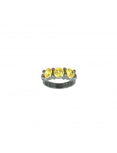Minimal Ring in Dark Sterling Silver with 3 Yellow Circonita