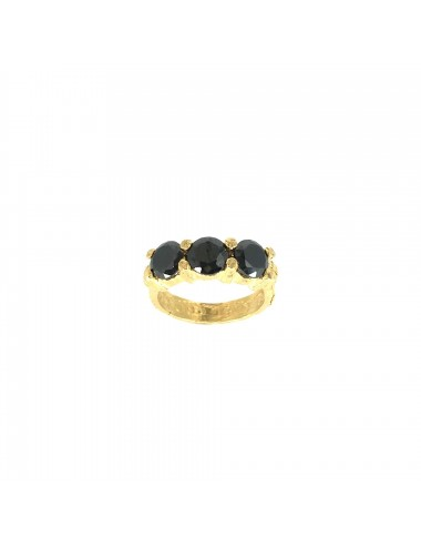 Minimal Ring in Sterling Silver Vermeil with 3 Black Circonita