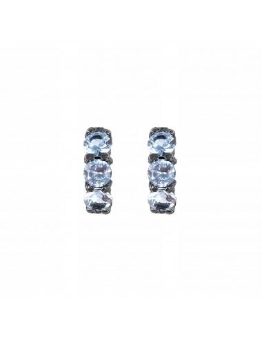 Pendientes Plata Oxidada Con 3 Circonitas Azules Minimal