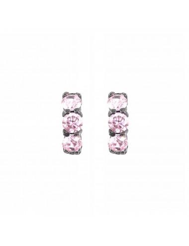 Minimal Earrings in Dark Sterling Silver with 3 Pink Circonitas