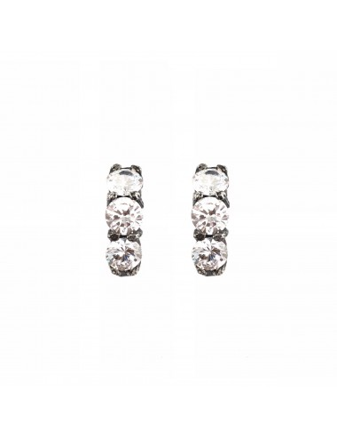 Minimal Earrings in Dark Sterling Silver with 3 White Circonitas