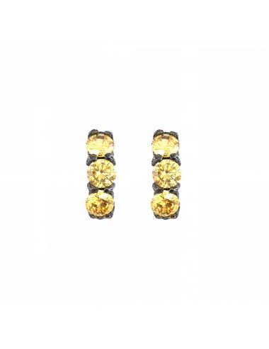 Pendientes Plata Oxidada Con 3 Circonitas Amarillas Minimal