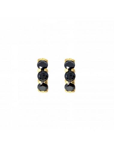 Minimal Earrings in Sterling Silver Vermeil with 3 Black Circonitas