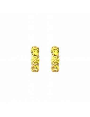 Pendientes Oro Con 3 Circonitas Amarillas Minimal