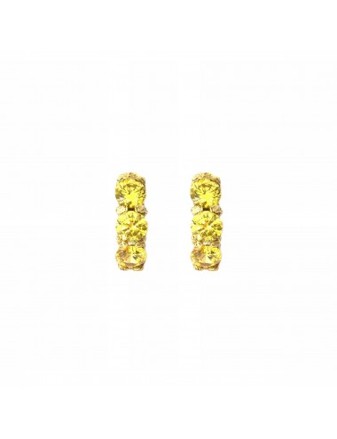 Minimal Earrings in Sterling Silver Vermeil with 3 Yellow Circonitas