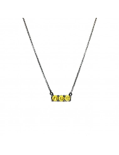 Minimal Necklaces in Dark Sterling Silver with 3 Yellow Circonitas