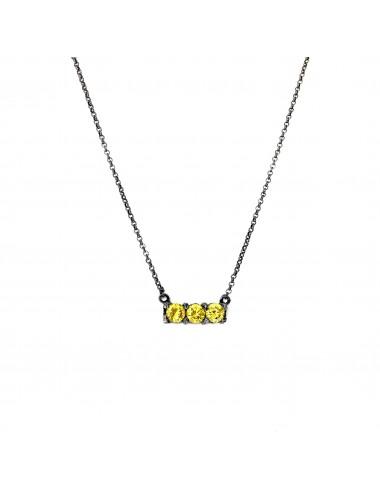 Minimal Necklaces in Dark Sterling Silver with 3 Yellow Circonitas