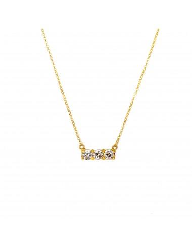 Gargantilla Oro Con 3 Circonitas Blancas Minimal