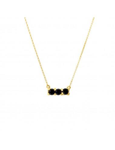 Minimal Necklaces in Sterling Silver Vermeil with 3 Black Circonitas