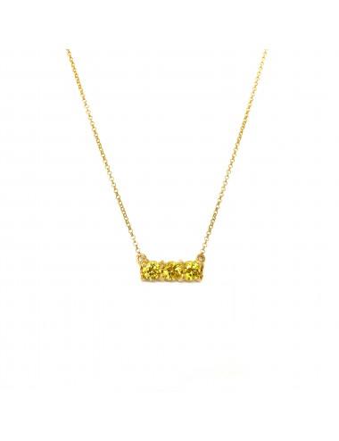 Gargantilla Oro Con 3 Circonitas Amarillas Minimal