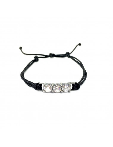 Minimal Black Cordon Bracelet in Dark Steling Silver with 3 White Circonitas