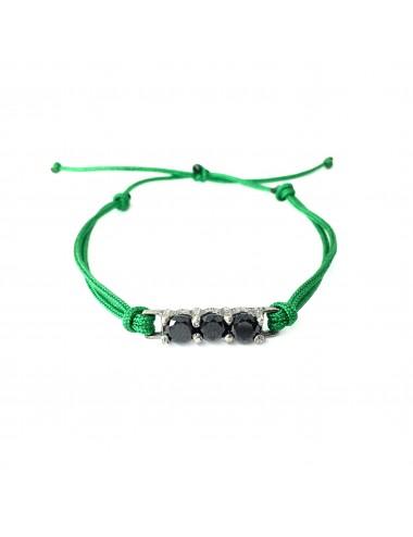 Pulsera Plata Oxidada Con Cordon Verde Y 3 Circonitas Negras Minimal