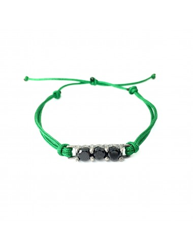 Minimal Green Cordon Bracelet in Dark Steling Silver with 3 Black Circonitas
