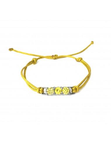 Pulsera Plata Oxidada Con Cordon Amarillo Y 3 Circonitas Amarillas  Minimal