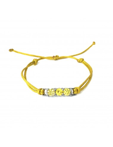 Minimal Yellow Cordon Bracelet in Dark Steling Silver with 3 Yellow Circonitas