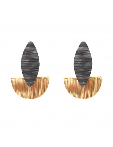 Architecture Semi Circle Earrings in Dark and Vermeil Sterling Silver